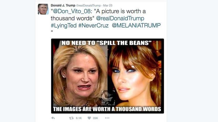 Esposas de Cruz y Trump en Twitter