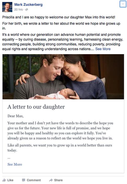 Facebook post de Mark Zuckerberg anunciando que es papá