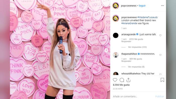 Comentario de Ariana Grande sobre su figura de cera