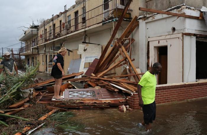 Un edificio colapsado en Panama City, Florida.