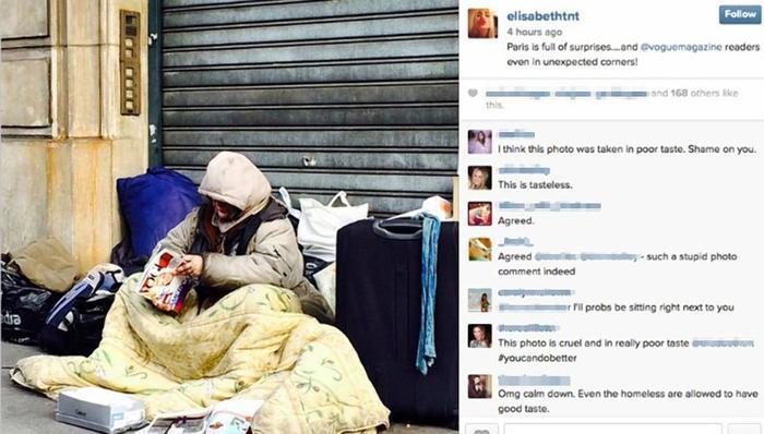 Foto de Maryse Dumas, mujer indigente leyendo vogue en el Instagram de Elizabeth Von Thurns und Taxis