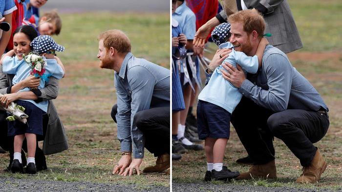 Meghan Markle y el príncipe Harry durante su gira por Australia.