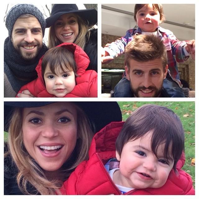 Shakira y Gerard Piqué con baby Milan