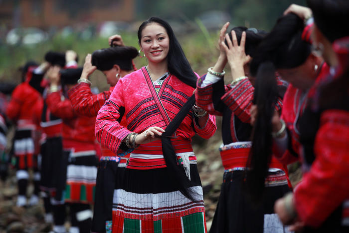 Yao People Celebrate Long Hair Festival In Guilin