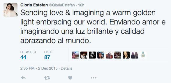 Gloria Estefan reacciona al tiroteo de San Bernardino