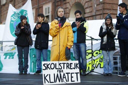 Greta Thunberg da un discurso este viernes en Turín, (Italia).