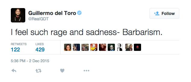 Guillermo del Toro reacciona al tiroteo de San Bernardino