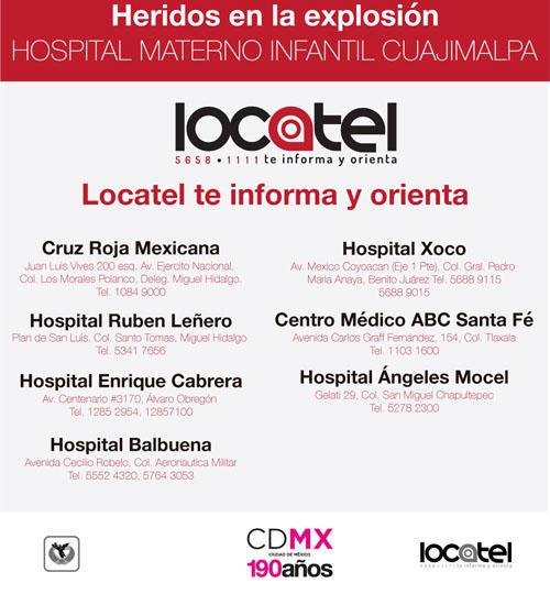hospitales a donde fueron trasladados heridos explosion mexico