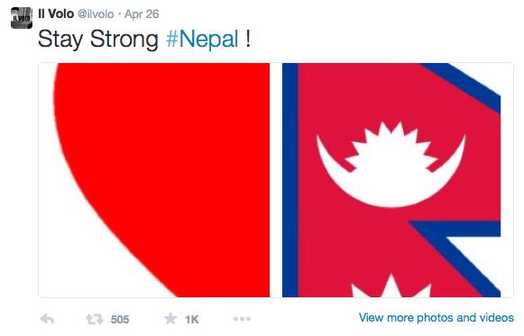 il volo demuestra su apoyo hacia las víctimas del terremoto de nepal con un tweet
