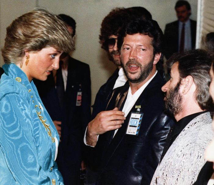 Princesa Diana con Eric Clapton en Wembley Arena, London en 1987