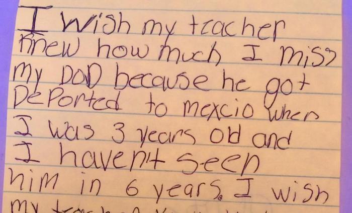 Maestra Kyle Scwartz comparte notas de sus estudiantes en #IWishMyTeacherKnew, niño con papá deportado