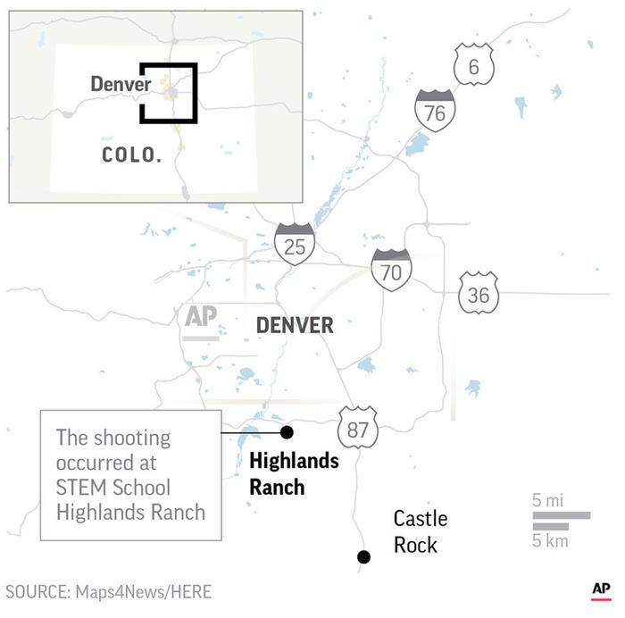 mapa localiza la escuela Highlands Ranch en Colorado, donde la policía reportó un tiroteo