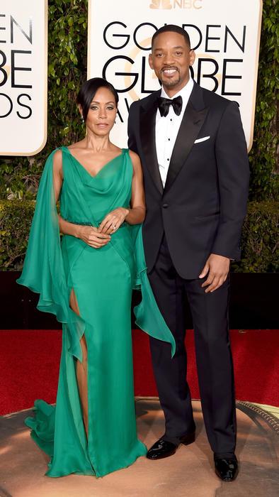 Jada Pinkett Smith y Will Smith en la alfombra roja de los Golden Globes 2016.
