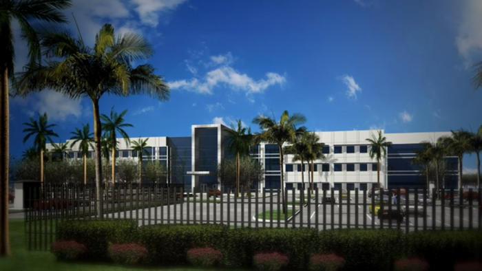 Gráfico de la próxima nueva sede global de Telemundo que será construida en el nor oeste de Miami Dade, Florida