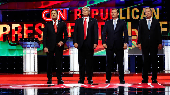 Precandidatos republicanos antes del debate realizado en Miami, Florida el jueves 10 de marzo del 2016