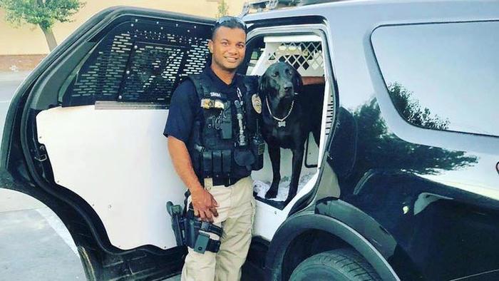 el agente ronil singh del departamento de policía de newman, 100 millas al sureste de san francisco, baleado aparentemente por un indocumentado el  26 de diciembre de 2018