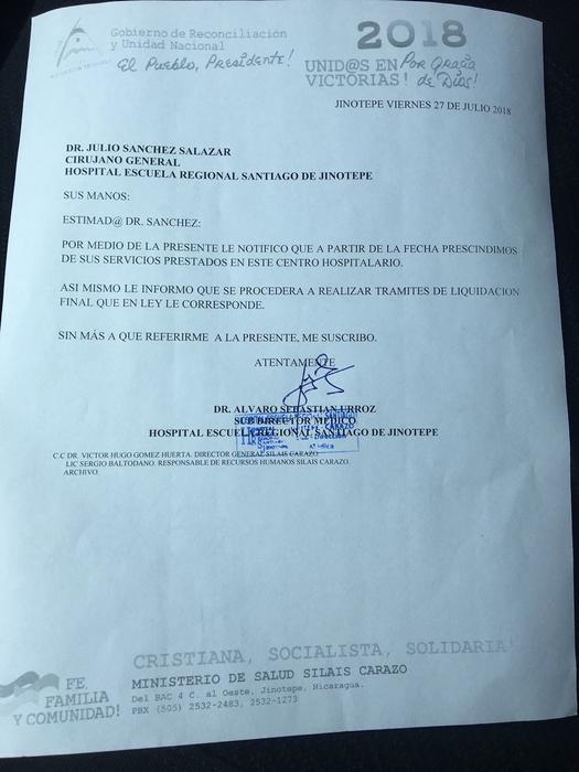 Carta de despido entregada al Dr. Sanchez en Jinotepe
