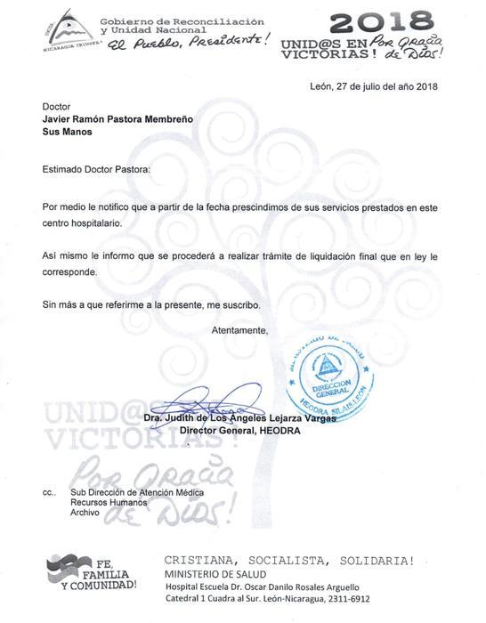 Carta de despido entregada al Dr. Pastora de Heodra