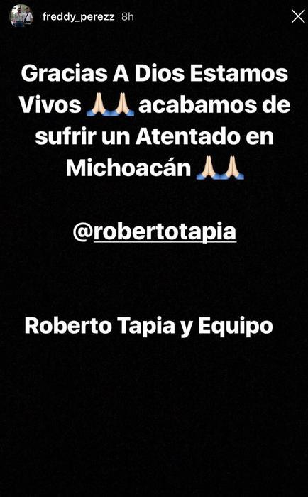 Mánager de Roberto Tapia confirma atentado conta el cantante.
