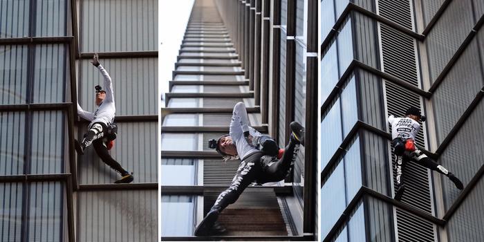 Alain Robert escalando la torre Heron en Londres