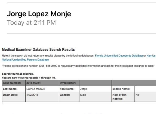 Reporte de la muerte de Jorge Monje