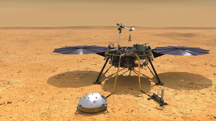 Simulación del InSight una vez haya tocado suelo marciano