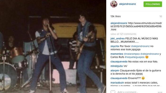 Instagram de Alejandro Sanz como rockero en grupo Jinete Inmortal