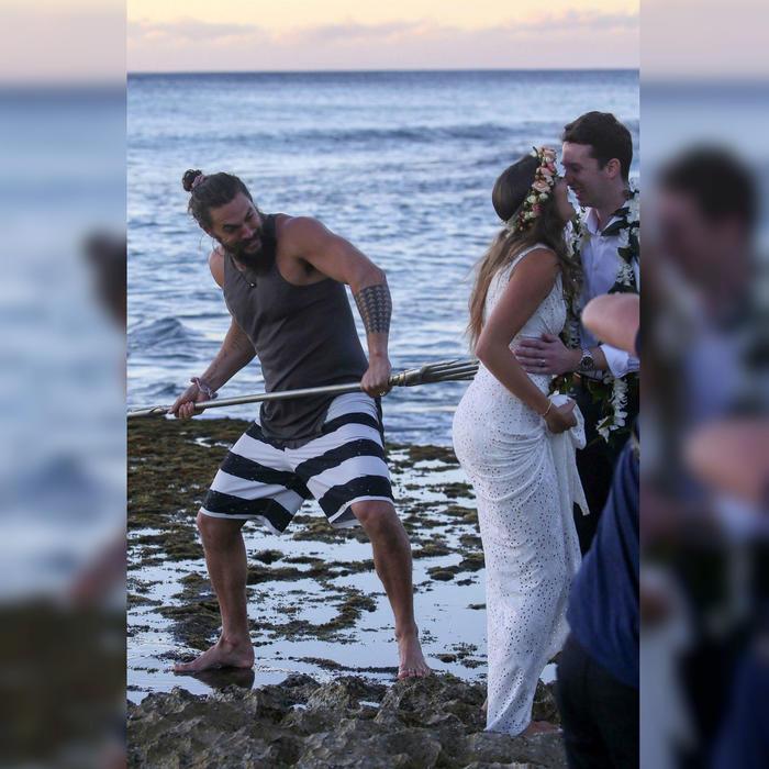 Jason Momoa irrumpe en una boda