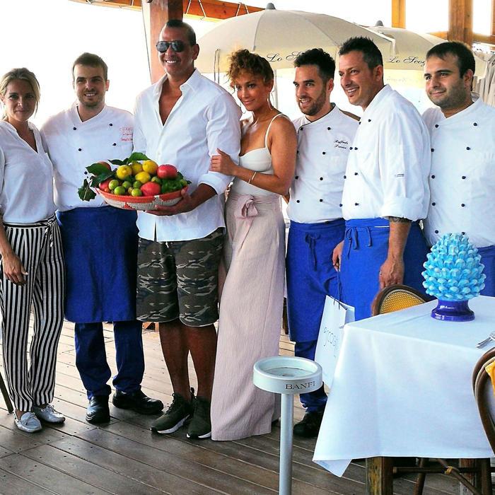 Jennifer Lopez con Alex Rodriguez en Italia
