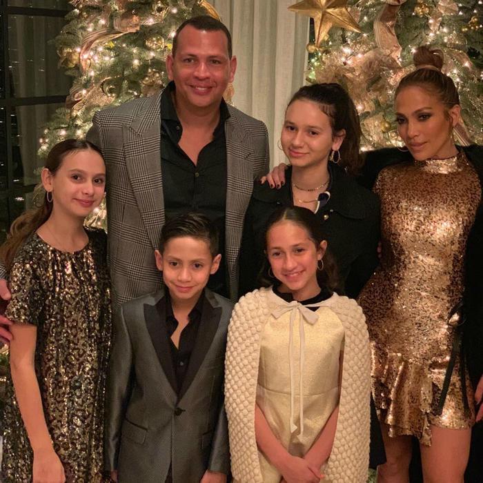 Jennifer Lopez con Alex Rodriguez y sus hijos