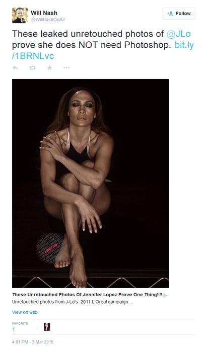 Jennifer Lopez sin photoshop para L'Oréal en el 2011