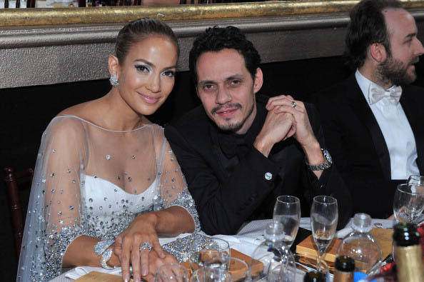 Jennifer Lopez y Marc anthony en los Golden Globe Awards