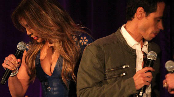 Jennifer Lopez y Marc Anthony en un concierto de la Winter Television Critics Association en California
