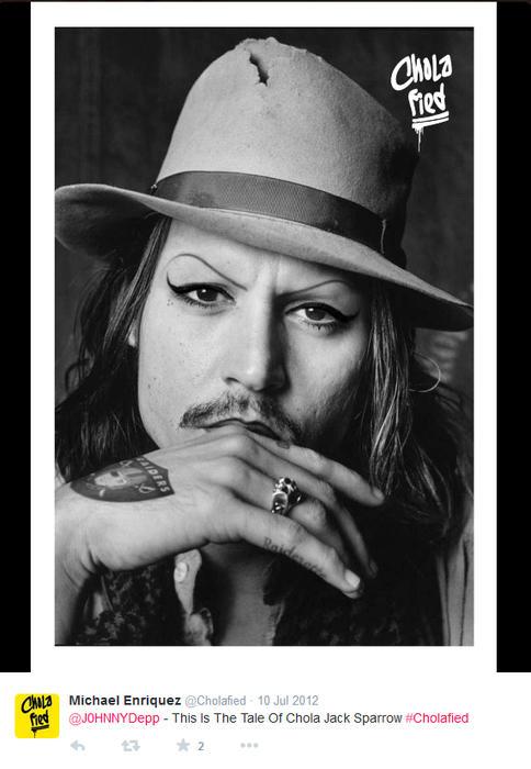 Johnny Depp maquillado como chola