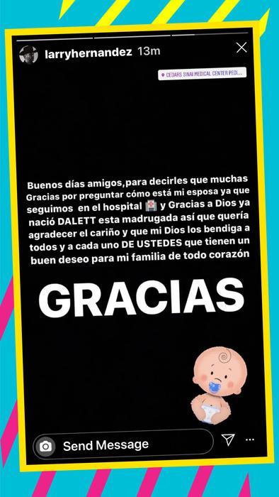 Larry Hernández anunció que ya nació su hija Dalett