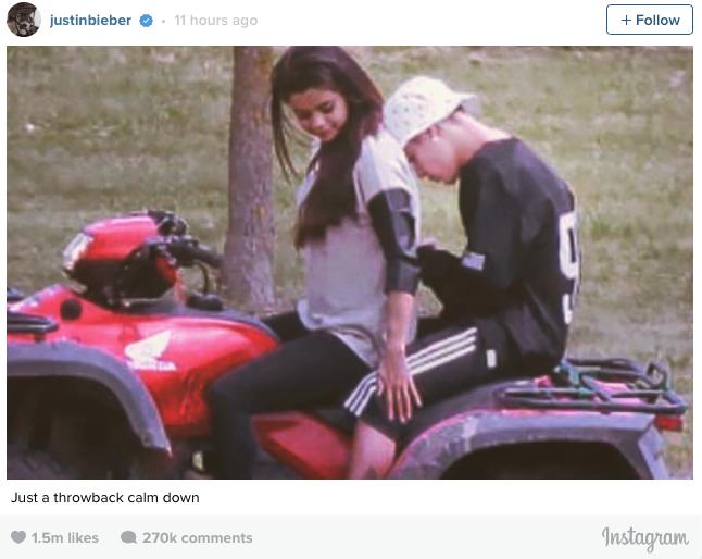 Justin Bieber y Selena Gomez comparten foto juntos en Instagram