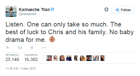 El tweet de Karrueche Tran sobre el bebé de Chris Brown.