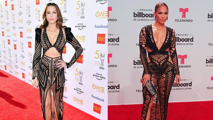 Kate Beckinsale y Jennifer Lopez usando el mismo vestido