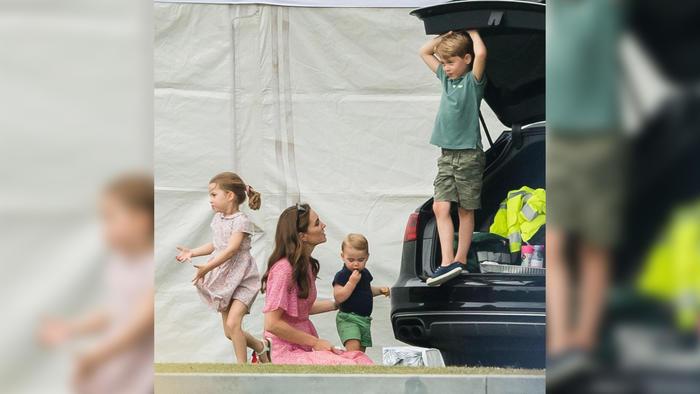 Kate Middleton con sus hijos George, Charlotte y Louis en un partido de polo en julio de 2019