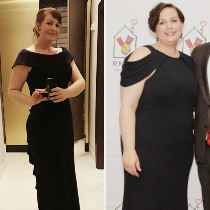 Katie Adams antes y después de bajar de peso