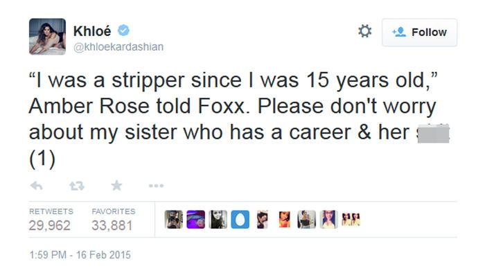 Khloé Kardashian tuiteó contra Amber Rose