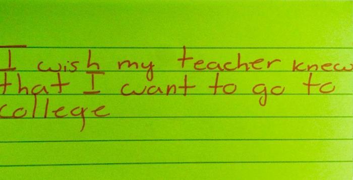 Maestra Kyle Scwartz comparte notas de sus estudiantes en #IWishMyTeacherKnew, niño quiere ir a la universidad
