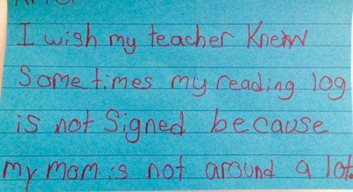Maestra Kyle Scwartz comparte notas de sus estudiantes en #IWishMyTeacherKnew, la mamá de este niño no está mucho tiempo en casa