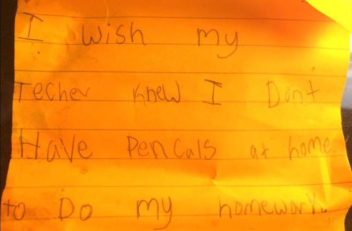 Maestra Kyle Scwartz comparte notas de sus estudiantes en #IWishMyTeacherKnew, niño no tiene lápices en casa para la tarea