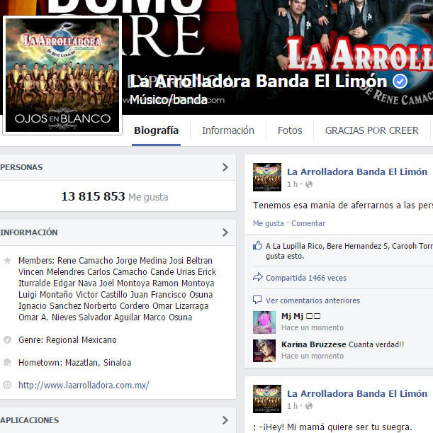 la arrolladora banda el limón cuenta oficial de facebook