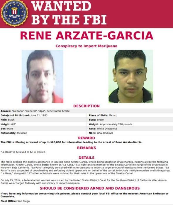 Cartel del FBI para la captura de La Rana