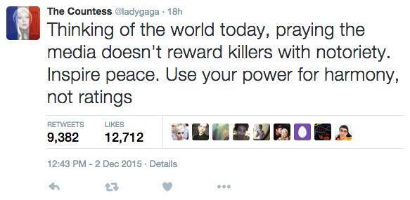 Lady Gaga reacciona al tiroteo de San Bernardino