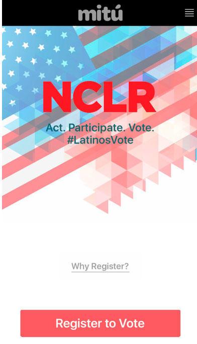 Captura de la app Latinos Vote, de NCLR