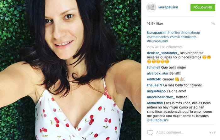 Selfie de Laura Pausini al natural en Instagram