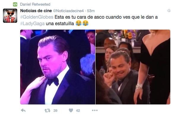Leo Di Caprio y Lady Gaga en los Golden Globes 2016